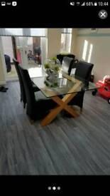 Solid oak glass table