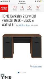 Berkeley 2 drawer double pedestal desk - black and walnut