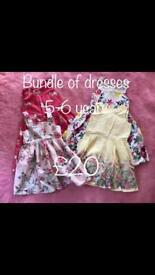 Bundle of girls dresses 5-6 years
