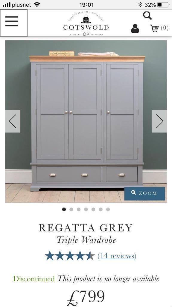 Cotswold Company Triple Wardrobe Regatta Grey