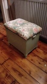 Pretty Vintage Upholstered Chalk Painted Green Wicker Hamper Ottoman £35 ONO