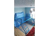 TRIPLE BLUE METAL BUNK BED FRAME
