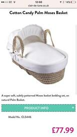 Almost new Clair de Lune Cotton Candy Moses Basket and Deluxe Stand