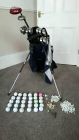 Maxfli golf clubs and Mizuno golf bag with extras