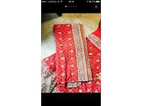Red silk wedding lengha