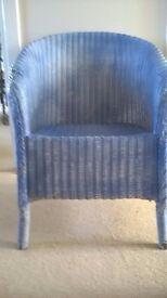 VINTAGE ORIGINAL LLOYD LOOM BLUE AND GILT SMALL CHAIR