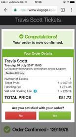 Travis Scott TICKETS!!! - Road to Wireless Tour - Birmingham O2 Academy