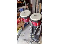 2 Sets of Bongos and heavy duty stand £65