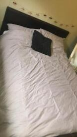 Double leather bed frame and mattress