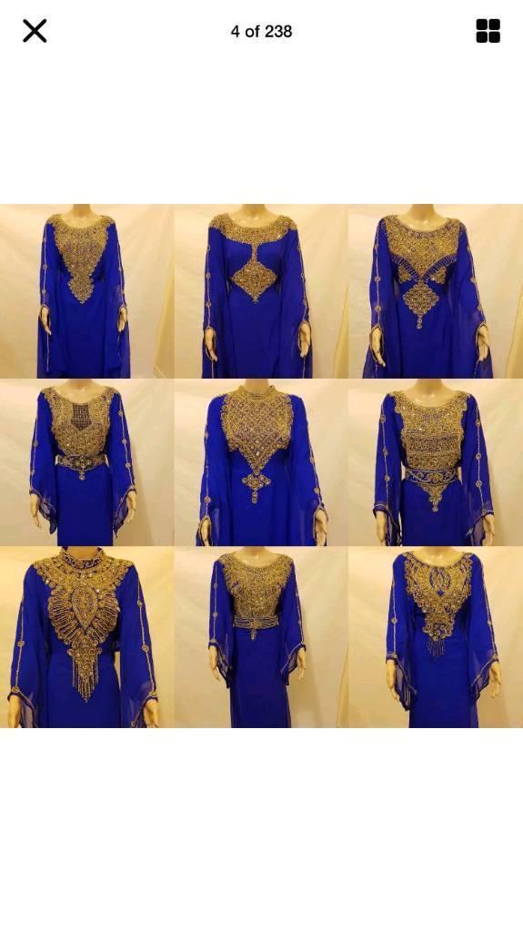 Dubai Moroccan style Royal blue Farasha /Abaya-free size