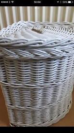 Corner wicker storage / laundry basket