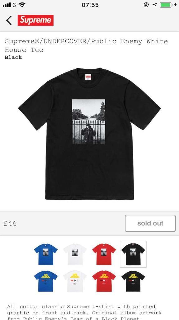 f6945fb6 Supreme/Undercover/Public enemy White House tee   in Newham ...