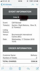 2 Cliff Richard Tickets