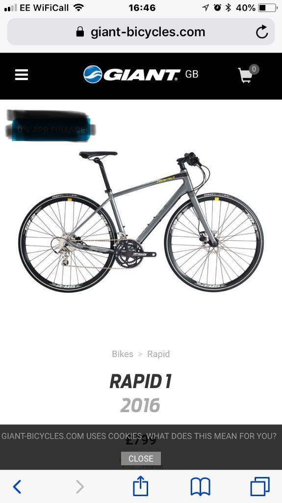 Giant Rapid 1 2016 hybrid/city bike, frame size S | in Maltby, South ...