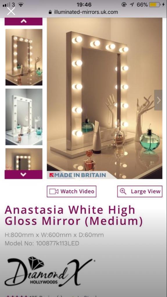 White Gloss Hollywood Mirror