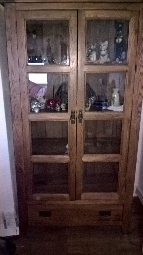 Rustic Oak Display Cabinet With Gl Panels On Doors Sides Wooden