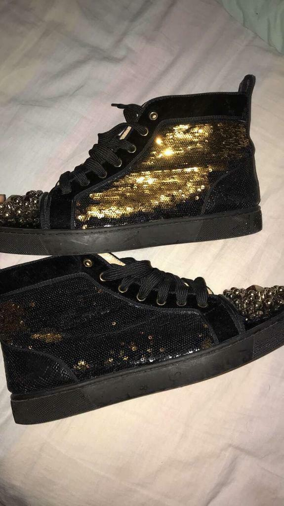 9a181b026cc Christian Louboutin Black Sequin Max Hi Top Sneakers   in Coalville,  Leicestershire   Gumtree