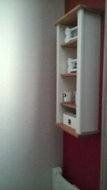 WHITE / PINE WALL MIRROR AND MATCHING SHELF UNIT.