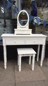 Shabby Chic White Dressing Table, Mirror & Stool