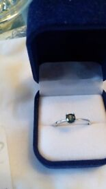 Beautiful 1/2ct Blue Diamond 9K White Gold Ring size S