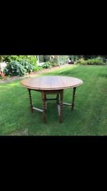 Large drop leaf vintage oak table