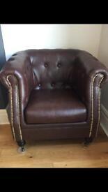 Faux leather tub chair armchair dark brown
