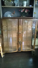 Vintage Glass China / Display Cabinet with Oriental Carving