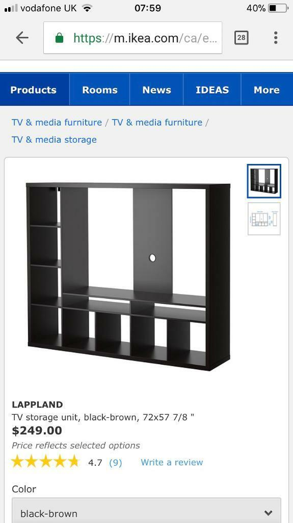 Ikea Lappland tv unit black/brown