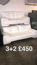 3 seater and 2 seater White Sofa NEW