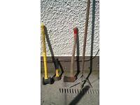 landscaping rake, axes and post mel - job lot