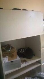 High Sleeper Single Bed with desk & wardrobe