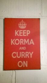 Keep Korma and Curry On, Metal sign