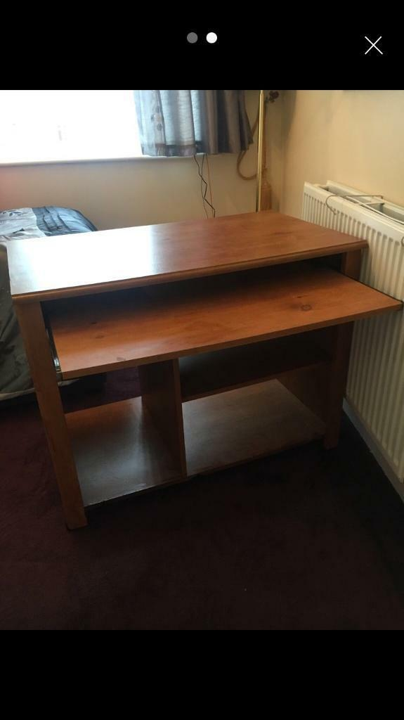 Wooden Computer Desk With Pull Out Shelf