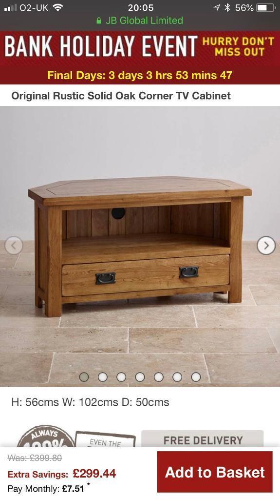 Original Rustic Solid Oak Corner Tv Unit From Oak Furniture Land