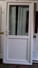 upvc door with frame half glass with keys 36in wide x 81inch high in good condition call 07498143887