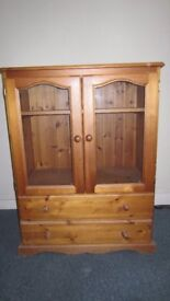 Large Pine Glass Cabinet