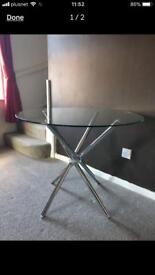 Chrome Glass Bistro Dining Table! QUICK! Modern