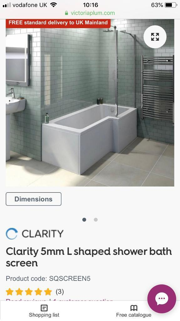 Bath Shower Screen For L Shaped Bath Brand New Victoria Plumb