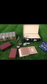 Antique travel crate / leather brief cases / monitor lamps /antique cutlery set etc..