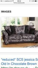 Black patterned sofa ex cond 3 seater