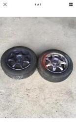 2 x ENKEI 185/60 14 ALLOYS WITH TYRES