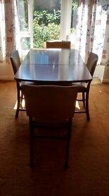 1950s Beautility Ltd dining table and 4 chairs