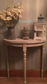 ***Reduced** solid wood STONE HALF MOON CONSOLE TABLE