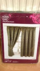 One Pair Lined Woven Jacquard Curtains