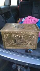 LARGE BRASS LOG BOX