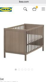 IKEA wooden baby cot and Mothercare mattress