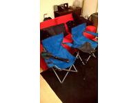 Camping chairs & 2 Tripod stools