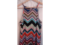 Colourful beach dress, Chevron pattern, size 10, Papaya