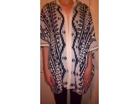 BNWOT Oversized Knit Aztec Open Cardigan/Cape/Hoodie 100% cotton Medium