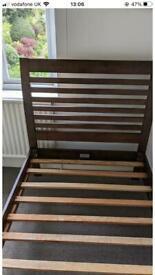 Dark wood single bed frame